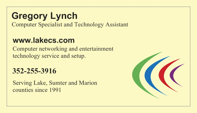 Gregory Lynch, Lake Computer Specialists, business card.